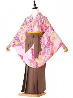 小学生卒業式袴レンタル(女の子) ピンク鹿の子風 9257