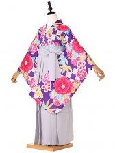 ジュニア袴 青×ピンク 市松 椿 9190