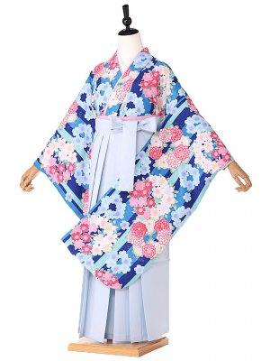 小学生卒業式袴レンタル(女の子)  pomponette水色9167