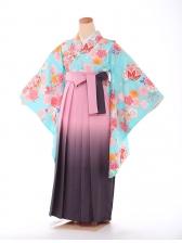 ジュニア袴 青緑 桜橘 9189