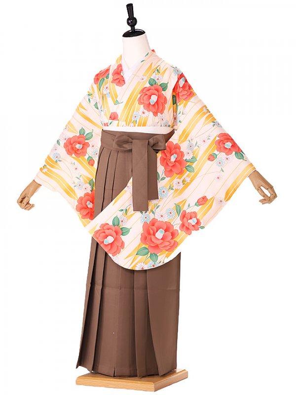 小学生卒業式袴レンタル(女の子) オレンジ 矢羽椿 9230