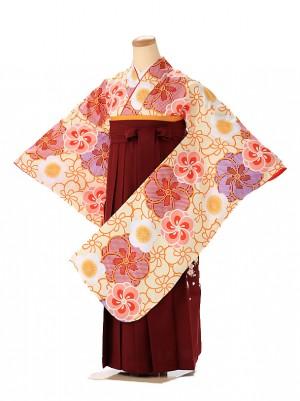 小学生卒業式袴レンタル(女の子) 黄色 華乱桜 9263
