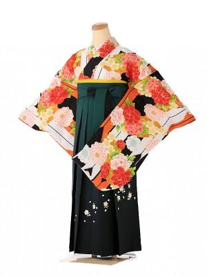 小学生卒業式袴レンタル(女の子) オレンジ モダン9261