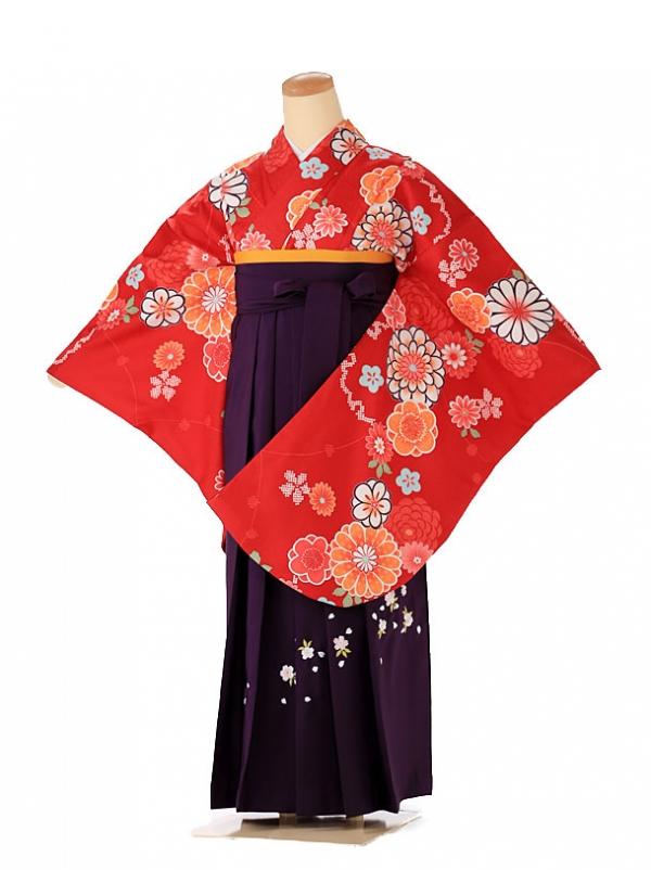 小学生 女袴 ジュニア 赤×白椿 9221