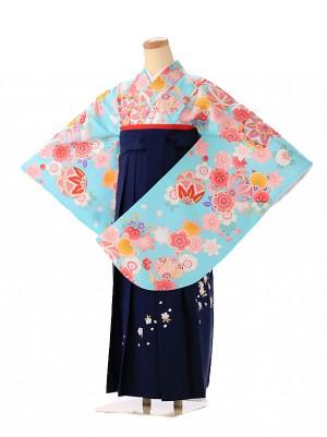 小学生卒業式袴レンタル(女の子) 青緑 9245