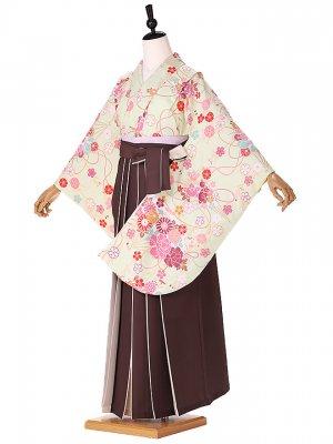 小学生卒業式袴レンタル(女の子) 黄緑 9255