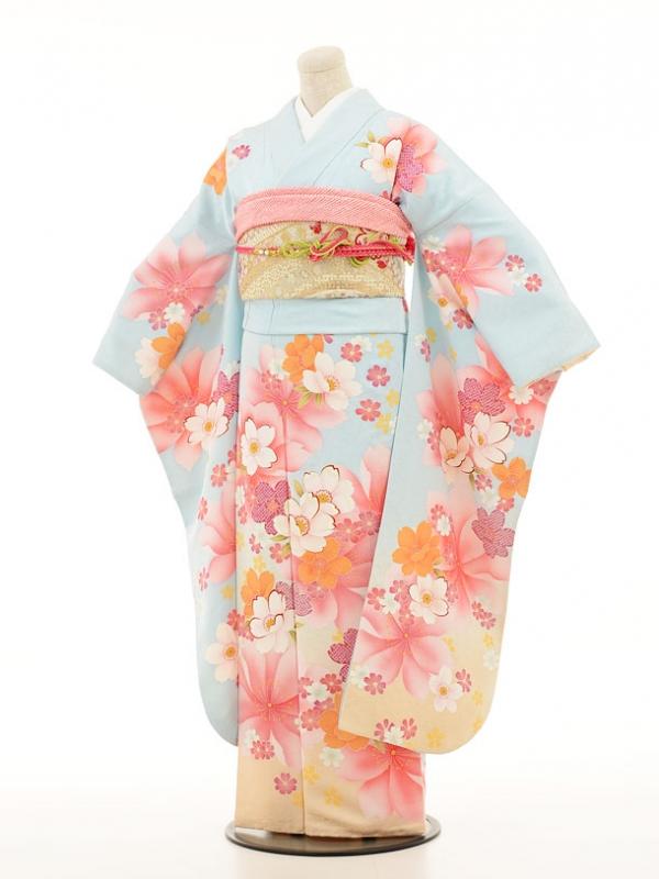 振袖250 水色桜模様