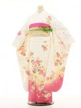 振袖254 白×裾ピンク桜