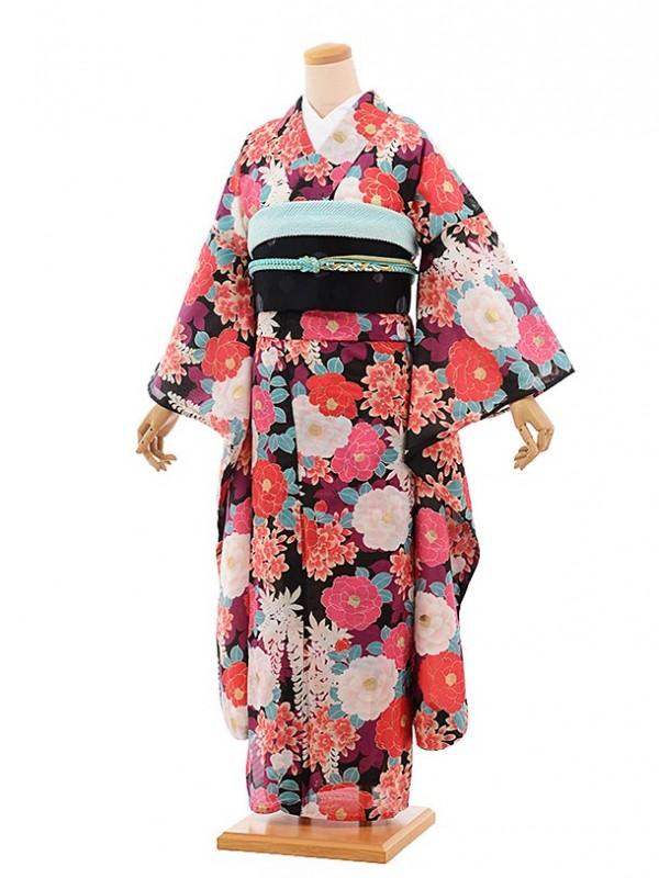 夏振袖757/黒/かわいい/成人式等
