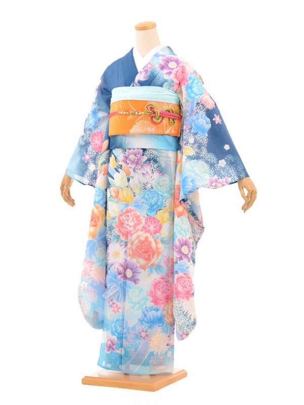 夏振袖910 ブルー地リボンと花