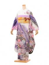 夏振袖904 白×紫 松竹梅に牡丹