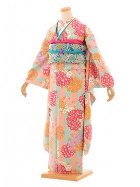 振袖922/きもの道楽/ピンク水色縞に小花