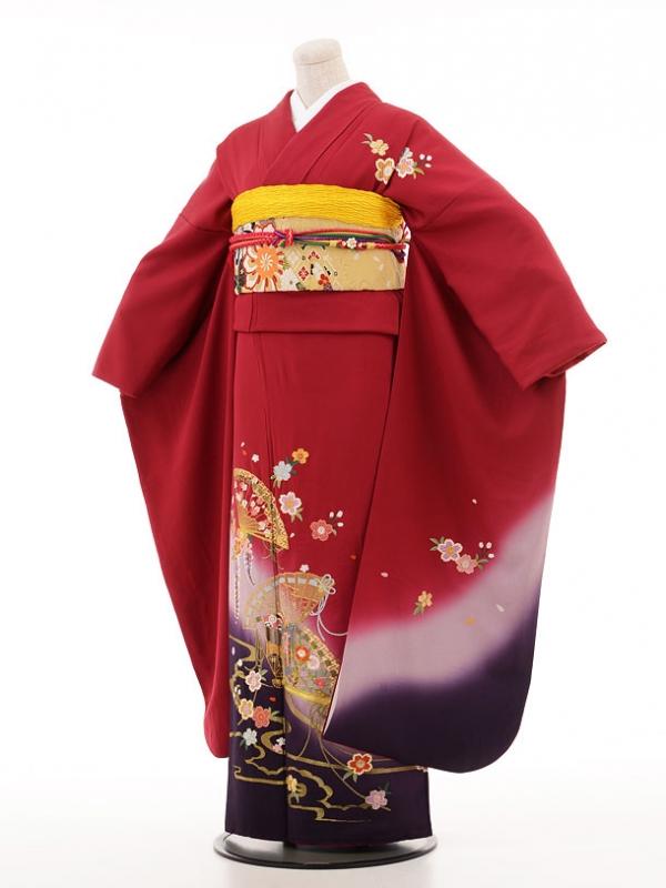 振袖335 ワイン扇面と桜刺繍