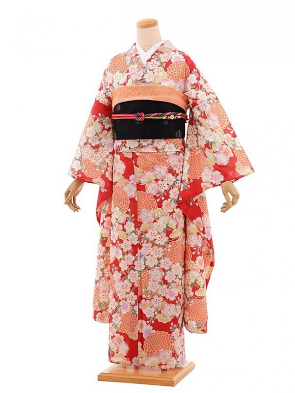 夏振袖751/赤/かわいい/成人式等