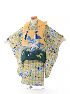 3歳 男の子 被布 花うさぎ 黄緑 A075