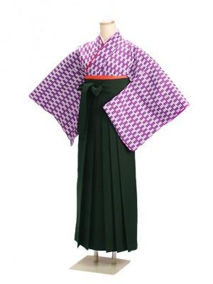 十三参り袴 13HP 紫矢絣 緑袴【身長145cm位】