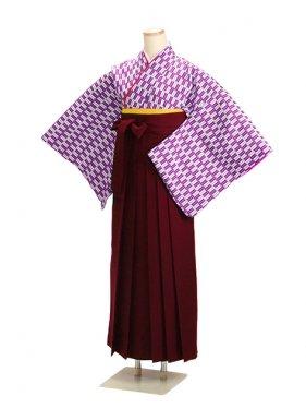 十三参り袴 13HP 紫矢絣【身長150cm位】