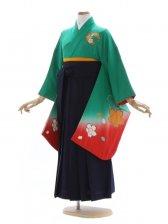 女児ジュニア着物500/グリーン赤ぼかし桜手まり