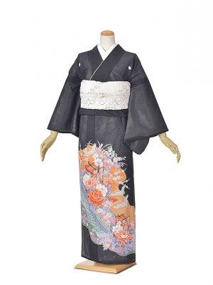 黒留袖(夏)ブルーオレンジ/御所車