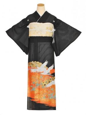 黒留袖(夏)オレンジ/ツル