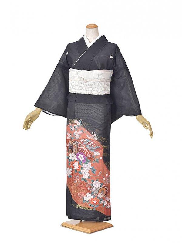 黒留袖(夏)濃いピンク/御所車