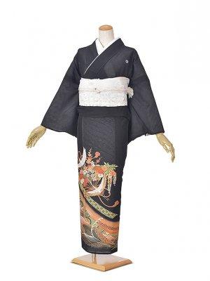 黒留袖(夏)グリーン赤波/ツル