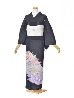 黒留袖(夏)鶴に松/梅紫波