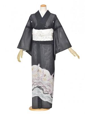 黒留袖(夏)ツル/白