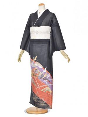 黒留袖(夏)ツル/ムラサキ/朱赤