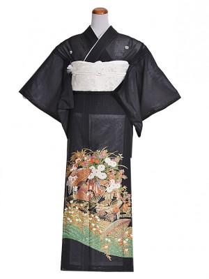 黒留袖(夏)グリーン金/扇/花