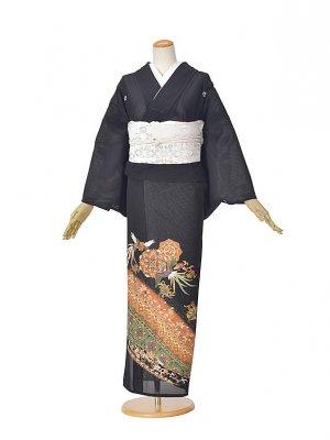 黒留袖(夏)グリーン赤/ホウオウ