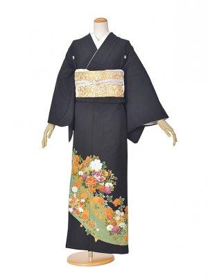 黒留袖(夏)グリーン花流れ(2)