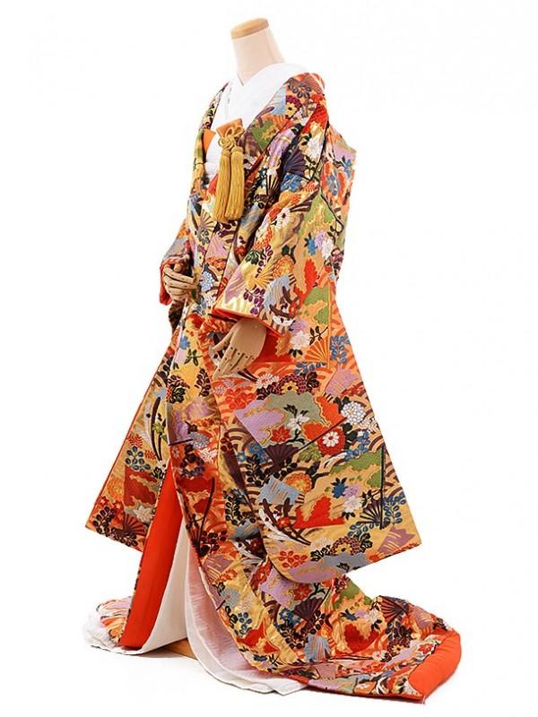 色打掛レンタル255唐織 オレンジ扇に四季花