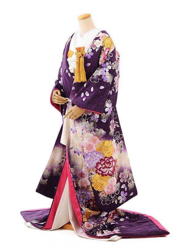 色打掛レンタル240富貴牡丹桜に雪輪模様紫地