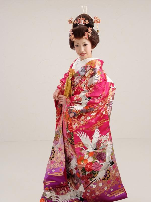 色打掛レンタル984ワイン×紫小桜に花籠