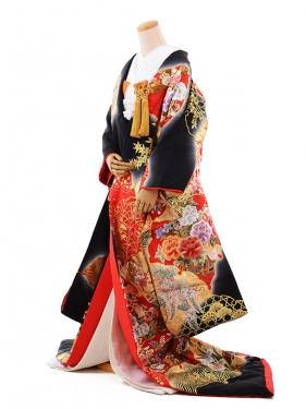 色打掛レンタル254黒赤 刺繍 四季花