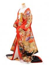 色打掛レンタル909赤地友禅牡丹刺繍