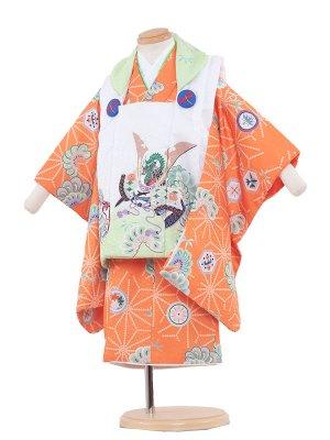七五三レンタル(2歳男被布)2003 オレンジ/花うさぎ