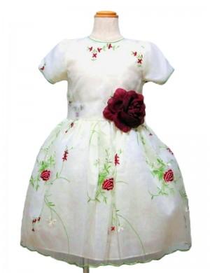 ホワイト130cm/薔薇の糸刺繍ドレス(112902)