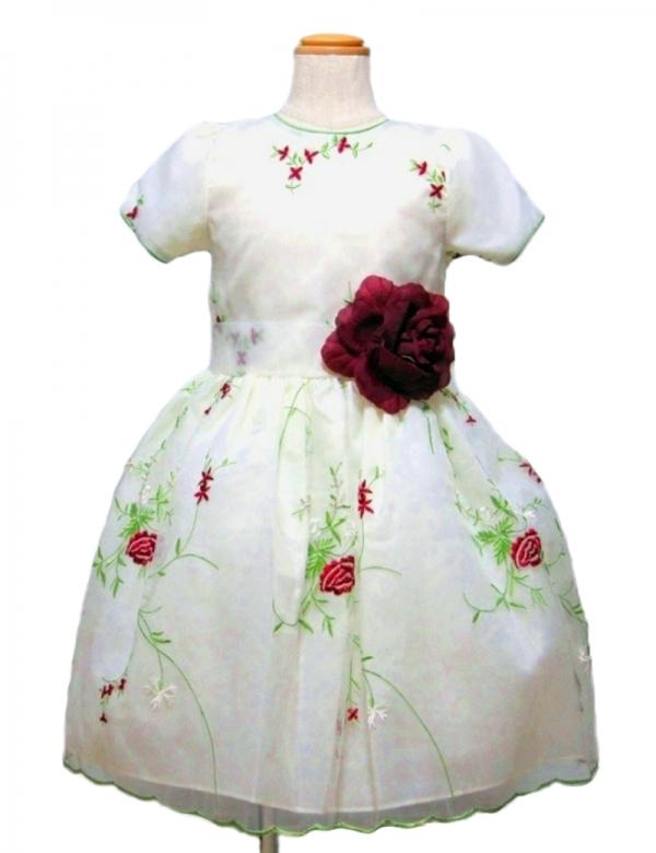 ホワイト110cm/薔薇の糸刺繍ドレス(112902)