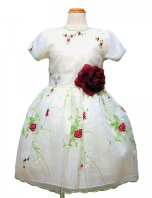 ホワイト120cm/薔薇の糸刺繍ドレス(112902)