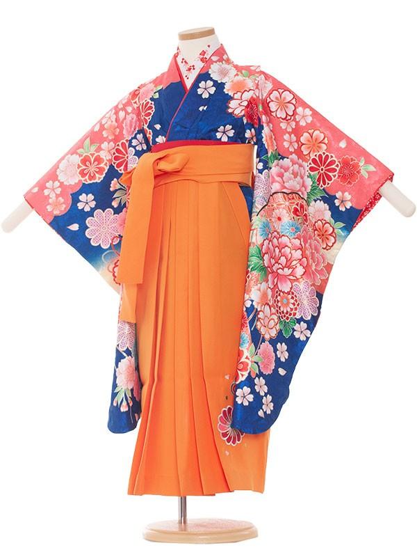 七五三・卒園式袴レンタル(5女)8007 青/花盛り  袴63