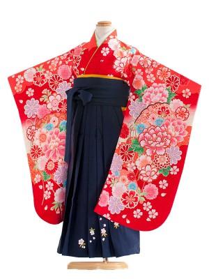 女児袴(5女)8005 赤/毬と華/袴