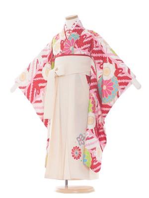 女児袴(5女)8012 ピンク地/紅白鶴・花 /袴