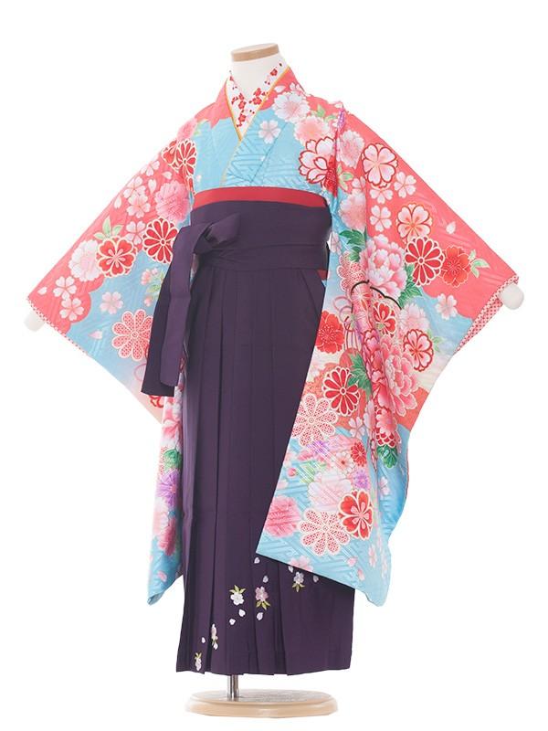 七五三・卒園式袴レンタル(5女)8004 水色/毬と華/袴