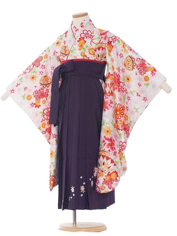 女児袴(5女)8006 白/毬と小花/袴