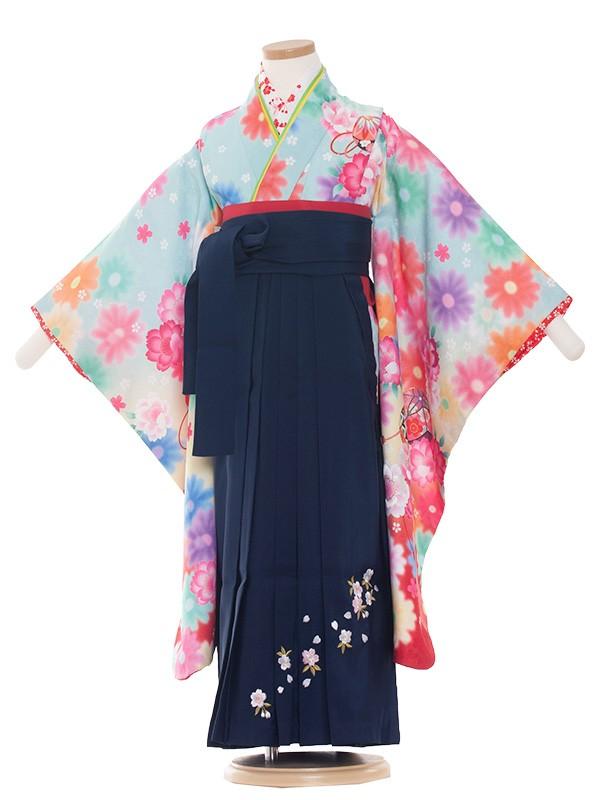 七五三・卒園式袴レンタル(5女)8002 水色/毬と華/袴