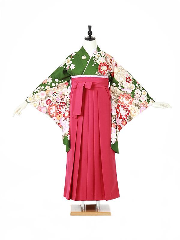 女性袴0045 緑 牡丹/桜
