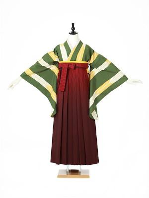 女性袴0049 緑 矢絣