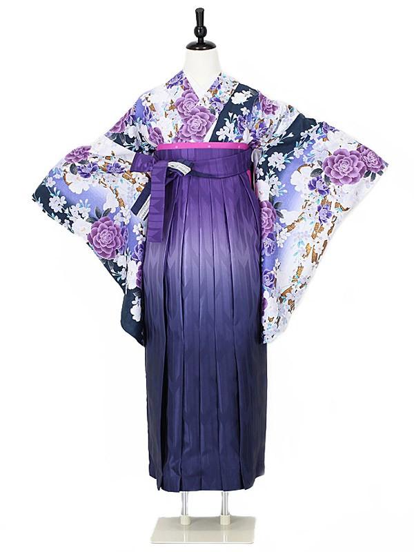 女性袴0011 紺 花模様